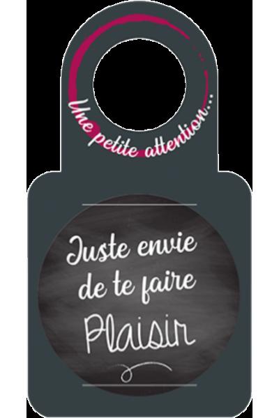 """Anti-gouttes + carte message au goulot """"Juste envie de te faire plaisir"""""""