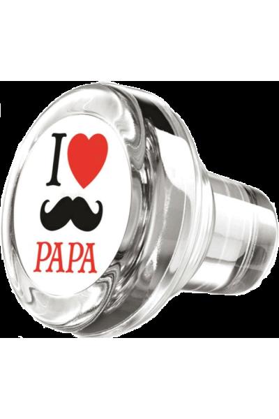 "Bouchon vinolok verre ""I ♥ papa"""