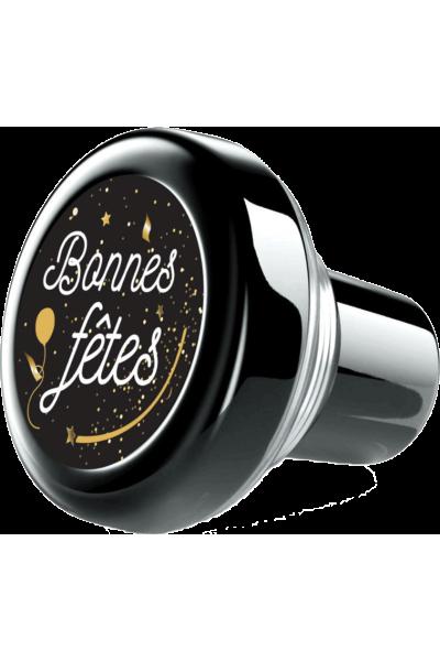 """Bouchon vinolok verre noir """"Bonnes fêtes!"""""""