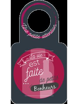 """Anti-gouttes + carte message au goulot """"La vie est faite de petits bonheurs"""""""
